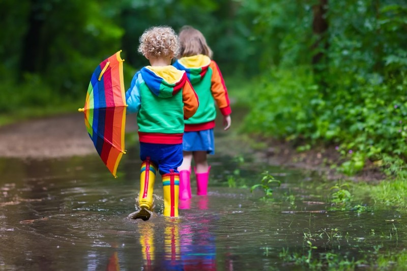Children in puddle