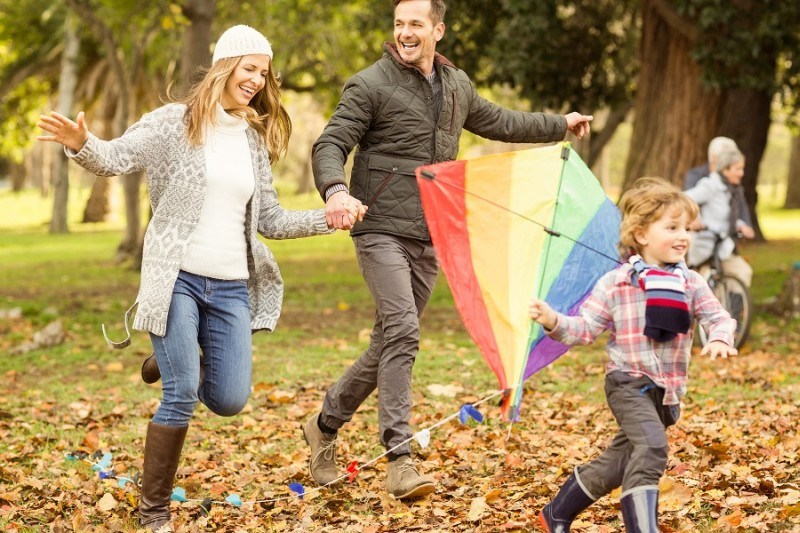 Family with a kite