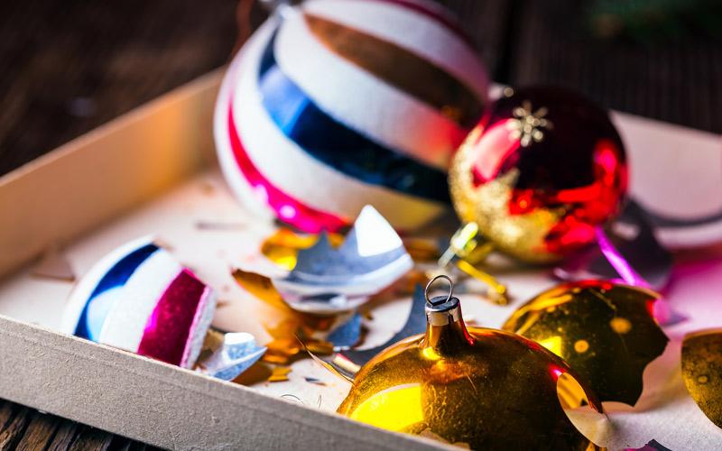 Broken Christmas decorations